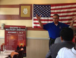 SSgt Eliu Rojas, President of Texas Chapter of Children of Fallen Soldiers is speaking at the Gathering of Eagles meeting on July 23, 2014
